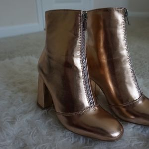 forever 21 rose gold zip up ankle boots sz 6